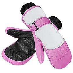 Terra Hiker Kinder Winter Handschuhe, Unisex Fäustlinge Fäustel, Wasserfest und Winddicht Skihandschuhe, Thermo Schnee Kinderhandschuhe für Outdoor Sport (Pink-M-Alt)