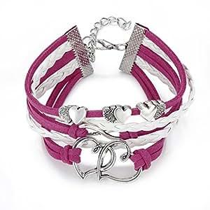 O.R.® (Old Rubin) New Hot Vintage Cute DIY Handmade Infinity Hearts Love peace karma wish Bracelet Friendship Leather Charm Rose and white leather bracelet Wristband