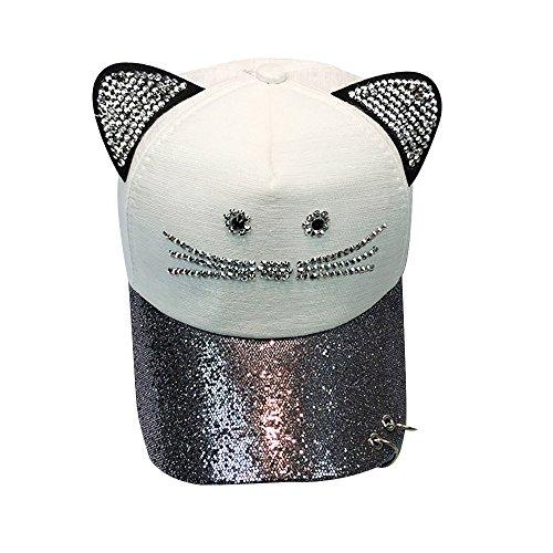 BURFLY Hip Hop Flachen Hut, Frauen Nette Katze Ohr Pailletten Ring Baseballmütze Diamant Baseballkappe Hut Hip Hop Flachen Hut ()
