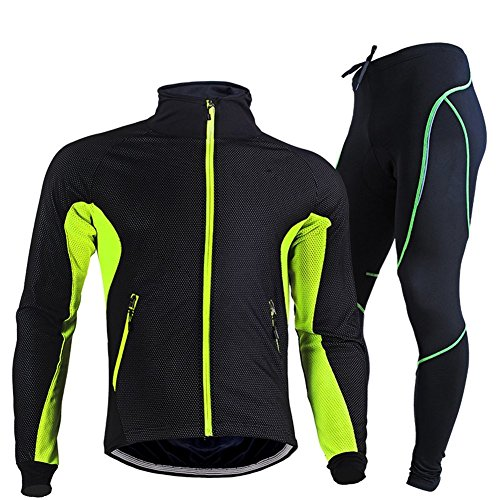 Rmine Herrren Fahrrad Langarm Radtrikot Set (Cycling Softshell Tight)