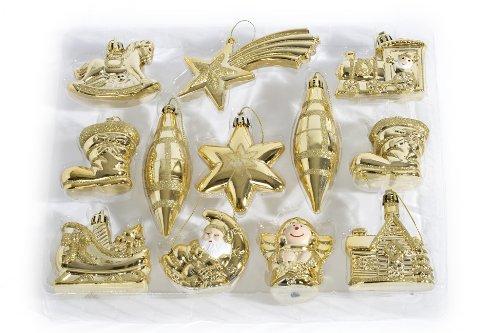 Heitmann Deco Weihnachtsbaum-Schmuck - Behang-Set aus Kunststoff - 12-teilig - gold - Christbaum-Anhänger