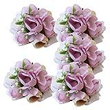 Fenteer 5XArtificiale Rose Bouquet da Polso Fiore Braccialetto di Perle per Nozze Sposa Damigella D' Onore Cinturino A Forma di Fiore Decorativo - B, Come descritto