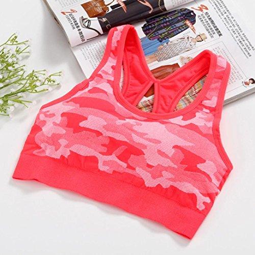 Soutien-gorge de sport Angelof Femmes Sans Couture Fitness Yoga ExéCuter RembourréS Brassiere Fille Sport DéBardeur Rouge de pastèque