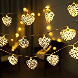 GIGALUMI 20 LED Herz Lichterkette leuchtet Silberherzen Batteriebetrieben für Terrasse, Hochzeit, Party und Dekoration