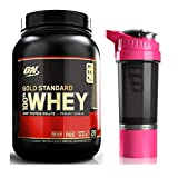 Optimum Nutrition Whey Protein Powder 908g with Cyclone Cup Gym Shaker Bottle Mixer (Banana/Pink Shaker)