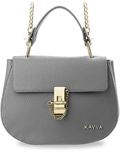 klassische Damentasche Messengertasche Bowlingbag (grau) grau