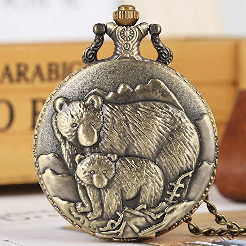 HANXIAO Taschenuhren Volle Hunter Bronze Eisbären Display Quarz Taschenuhr Vintage Anhänger Halskette Kette Retro Uhr Geschenke Kinder Männer Frauen-Hellrosa