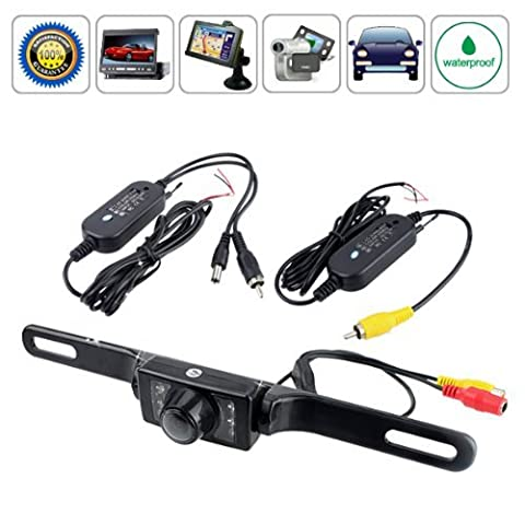 BW 2.4G Wireless Car License Mount Rear View Backup Camera 7 IR LED Night Vision with Transmitter & Receiver (Waterproof Ip67 / Color Cmos / 135 Degree Viewing Angle / Distance Scale Line)
