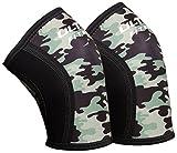Rodilleras ULTRA FITNESS 5mm (1par), sujeción y compresión para levantamiento de pesas, elásticas, reducen el dolor, previenen y protegen lesiones , Others, camouflage, Medium