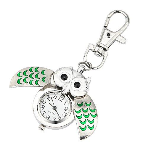 rtoon-Schlüsselanhänger Eulen-Taschenuhr Mode wunderschöne Eule Watch Clip Pocket Keychain (C) ()