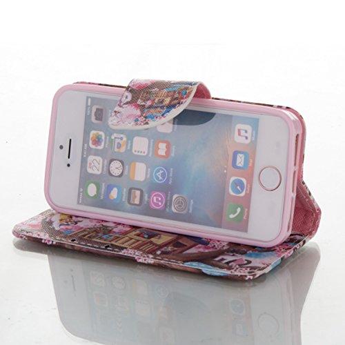 Handyhülle für Apple iPhone 5/5s/SE, Ekakashop Ledertasche Schutzhülle im Bookstyle für iPhone 5s, Rote Feder Muster Leder Tasche Handytasche Zubehör Portemonnaie mit Kartensteckplätze für iPhone SE + Katze im Baum