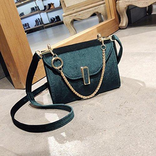BZLine® Frauen Solid Velour Messenger Taschen Crossbody Schultertaschen Grün