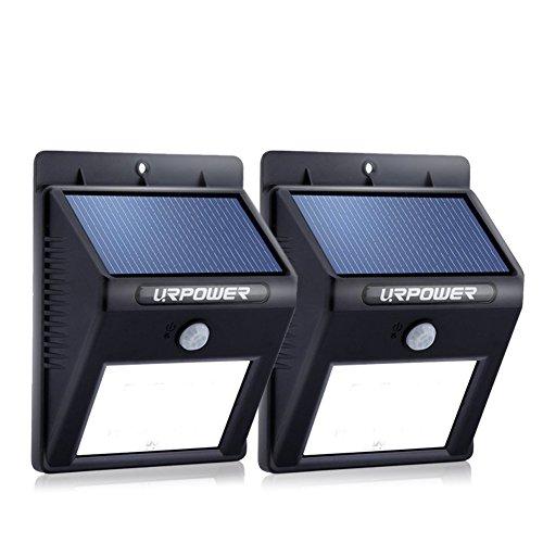 URPOWER Solar Wandleuchte mit Bewegungsmelder Außen Sicherheit Wasserfest Lighting ,8 LED Auto On/Off Funktion Für Patio, Terrasse, Hof, Garten Außenwand (2)