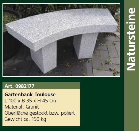 Gartenbank Toulouse, L 100 x B 35 x H 45 cm Steinbank, ca. 150 kg
