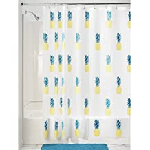 InterDesign Piña PVC cortina de ducha, poliéster, amarillo/azul, 180 x 180 cm