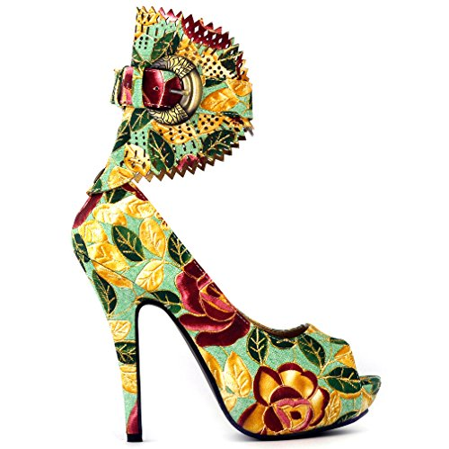 Visualizza Story Verde multi colori Floral peeptoe gladiatore dello stiletto della piattaforma pompe, LF30402AG38,38EU, New Green