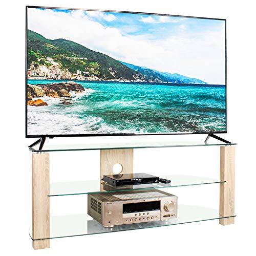 RFIVER Fernsehtisch Fernsehschrank Lowboard Board TV Tisch Schrank Rack Klarglas 3 Platten Breite 120 cm bis zu 65 Zoll TS3002