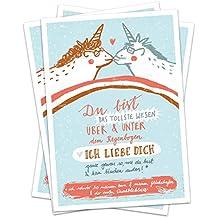 Lustige & originelle Grußkarte: 5 Einhorn Postkarten für liebe Grüße Valentinskarte Recyclingpapier