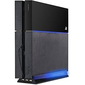 LeSB Standfuß Vertical mit 3-Fach USB-Hub und Blauer LED-Beleuchtung für Playstation 4, Schwarz/Weiss