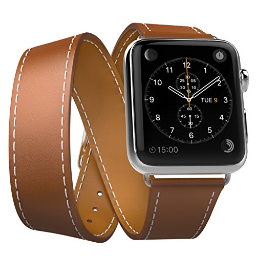 MoKo Apple Watch 42mm Armband Series 3 / 2 / 1, Double Tour Lederarmband Wrist Band Uhrband Uhrenarmband Erstatzband mit Schnalle und Mentallschließe für Apple Watch 42 mm Nike+ 2017, Braun (Tour Leder)