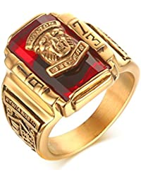 Vnox Anillo de los Hombres de Acero Inoxidable 1973Walton Alta Escuela Clase de Sello Banda Anillos Rojo Dorado