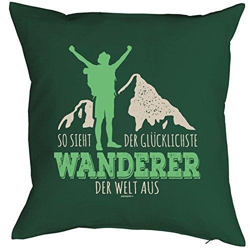 (Kissen mit Füllung Wandern Klettern Trekking Outdoor, Couchkissen für Bergfreunde und Bergsteiger - So sieht der glücklichste Wanderer der Welt aus)