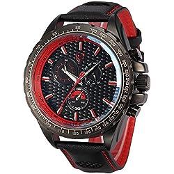 Shark Herren Armbanduhr Quarzuhr Sportuhr Armband aus Leder SH196