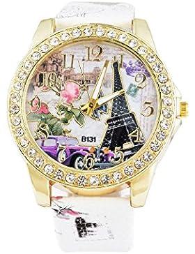 Souarts Damen Weiß Eiffelturm Strass Armbanduhr Quartz Analog mit Batterie