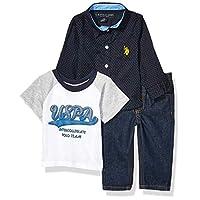 يو.اس. بولو اسن . قميص منسوج بأكمام طويلة للأولاد الصغار، تي شيرت مطبوع عليه الشعار، وبنطلون جينز Grey Navy Multi Plaid 12M
