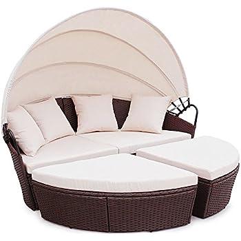 vidaXL Poly Rattan Gartenmöbel Lounge Set Rund Weiß: Amazon.de ...