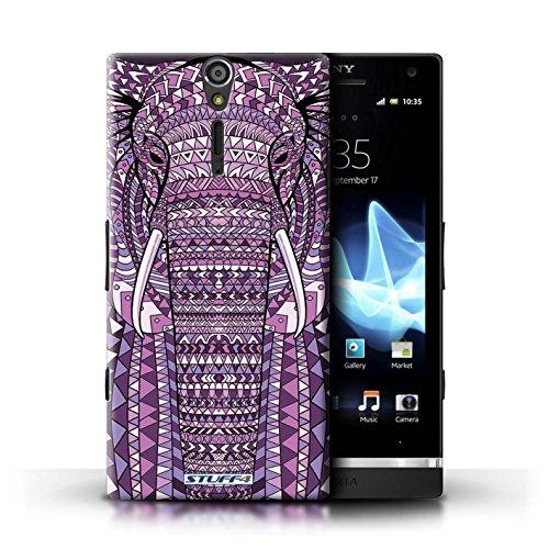 Kobalt® Imprimé Etui / Coque pour Sony Xperia S/LT26i / Loup-Sépia conception / Série Motif Animaux Aztec éléphant-Pourpre