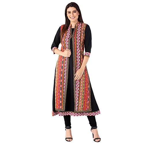 M&D 3/4 Sleeve Festive and Party wear Long Double Layer Kurti for...