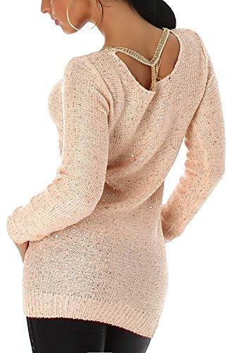 Jela London Damen Pailletten-Longpulli / Minikleid mit Goldkettchen (Einheitsgröße 36 38) Salmon Pink
