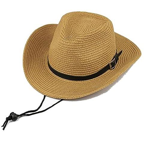STONG Unisex Hawaii Foldable Western Cowboys Straw Hat Beach Bid Brim Sun Hat (Khaki)