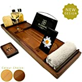 Blooming Lily Bath Tub Caddy Tray - Bamboo Wood Bathtub Rack with Wine Glass Holder, Extending Sides, Book Rest, Phone Slot + FREE Soap Tray