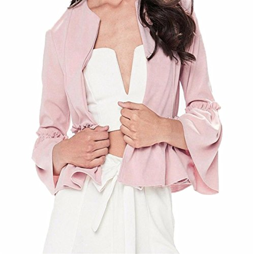 Streifen Button-front Shirt (Dame Langarm Bluse,Moonuy Frauen Casual Elegant Slim Bluse Rüsche Langarm Jacken Open Front Mantel Blazer Peplum Crop Jacke Polyester Tops (S, Rosa))
