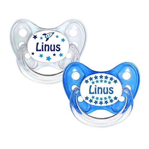 Dentistar® Silikon Schnuller 2er Set inkl. 2 Schutzkappen - Nuckel Größe 1 von Geburt an, 0-6 Monate - zahnfreundlich und kiefergerecht | Linus