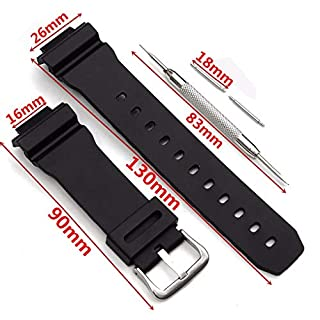 Rekkle Watch Band Strap Replacement for Casio G Shock DW-6900 Rubber Silicone Watchband Ear Batch Needle