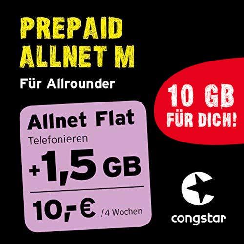 congstar Prepaid Allnet M Paket [SIM, Micro-SIM und Nano-SIM] - Das Prepaid-Paket für Allrounder in Bester D-Netz-Qualität Prepaid-handy-sim