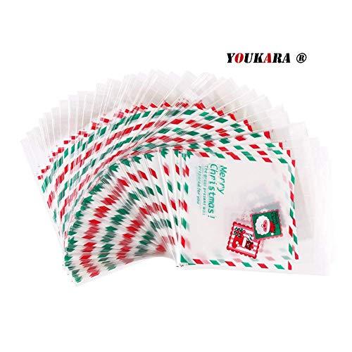 youkara 100Weihnachten behandeln Taschen selbstklebend Cookie Staubbeutel Bakery Candy behandeln DIY Geschenktüten XMas Candy Staubbeutel Aufbewahrungstasche Party Geschenk