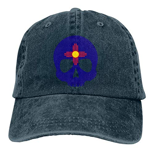 Hoklcvd New Mexico Skull Unisex gewaschen verstellbare Mode Cowboyhut Denim Baseball Caps Unisex11 - Indoor-flag-kit
