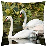 dongpujidiangongsi Lovely Swans - Throw Pillow Cover Case 18 X 18 Inch