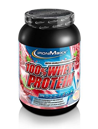IronMaxx 100% Whey Protein – Proteinpulver auf Wasserbasis – Eiweißpulver für Proteinshake mit Himbeer Geschmack – 1 x 900 g Dose