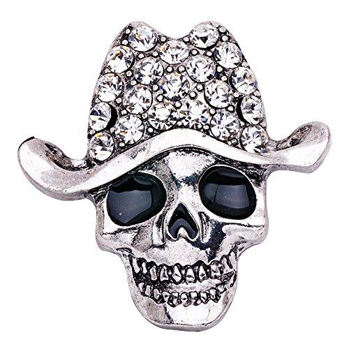 Eizur Unisex Halloween Scheletro Cranio Spilla Pin Cristallo Strass Lapel Pin per Costume per Halloween Decorazione Partito Favore Regalo Stile 4-Argento