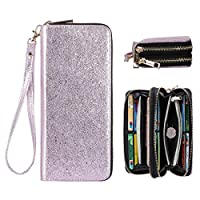 HAWEE RFID Blocking Long Clutch Wallet for Women Dual Zipper Cellphone Wallets Ladies Wristlet Purse with Multiple Card Slots for Credit Card Coin Cash