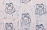 Handicraft-Palace Owl Cotton Hand Block Sanganeri Printed Fabric Dress Making Fabric (Grey)