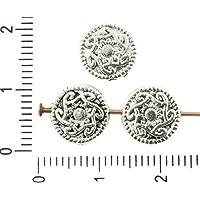 12pcs de Antigüedades de Plata de Tono Plana Redonda Espiral Celta Patrón de Flores de la