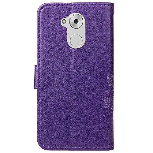 EKINHUI Case Cover Double Magnetic Back Sucktion Retro Style PU Leder Flip Stand Case mit Kickstand und Wallet Beutel Funktion für Huawei Changxiang Genießen Sie 6S ( Color : Black ) Purple