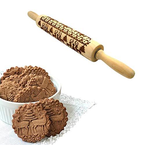 Embossing Nudelholz Holzprägung Teigroller mit Weihnachts-Symbolen für Bäcker, Köche für Pasta, Keks, Teig, Gebäck, Pizza Fondant, Chapati 5 * 35cm C:deep Engraving 14