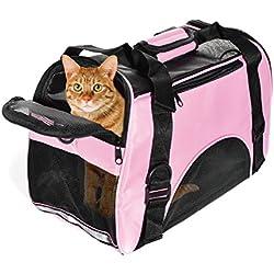 Bolsa de Transporte Perros Gatos Mascotas Viaje Medidas Transportin Perro Gato 42cm*20cm*30cm Aprobadas por la Compañía Aérea Operadora,Color Rosa